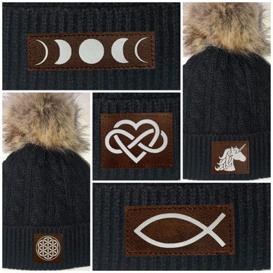 Beanies - Buddha Gear, Black Plush Baby Pom Pom Beanie with Om, Lotus, Moons, Tree of Life, Unicorn, Namaste, Infinite Love, Flower of Life & Ichthus. All Vegan, Hand Made Sacred Geometry Patches.
