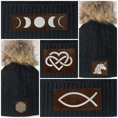 Buddha Gear Sacred Geometry Black Plush Baby Pom Pom Beanie with Om, Lotus, Moons, Tree of Life, Unicorn, Namaste, Infinite Love, Flower of Life & Ichthus. All Vegan, Hand Made Patches. Yoga wear