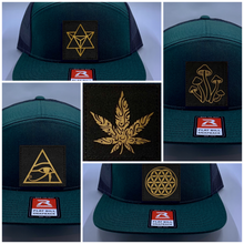 Load image into Gallery viewer, Buddha Gear Green 4 Panel Flatbill Buddha Lid w Handmade Cannabis Patch over your Third Eye  Cannabis - What can we say? It's making a major comeback in the health and healing industry, helping many people wean from their meds and get back their zest for life! (marijuana) ;-) Yoga skater hat