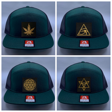 Load image into Gallery viewer, Skater hat Buddha gear Green 4 Panel Flatbill Buddha Lid w Handmade Cannabis Patch over your Third Eye  Cannabis - What can we say? It's making a major comeback in the health and healing industry, helping many people wean from their meds and get back their zest for life! (marijuana) ;-)