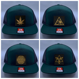 Skater hat Buddha gear Green 4 Panel Flatbill Buddha Lid w Handmade Cannabis Patch over your Third Eye  Cannabis - What can we say? It's making a major comeback in the health and healing industry, helping many people wean from their meds and get back their zest for life! (marijuana) ;-)