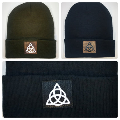 Yoga Beanie Hat with Celtic Triquetra over your third eye by Buddha Gear Buddha Beanies