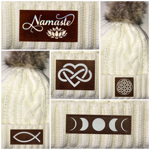Beanies - Ivory Plush, Blanket Lined Cable Knit, Pom Pom Beanie with The Eye of Horus, Ganesha, Ichthus/Christian Fish, Infinite Love, Buddha, Namaste, Puppy Love, Flower of Life, Moons, Lotus, Tree of Life, Cannabis, Mushrooms and Coffee