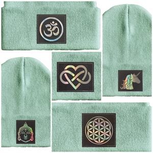 aqua blue yoga beanie hat by buddha gear flower of life