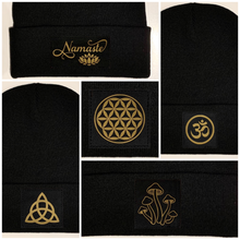 Load image into Gallery viewer, Beanie - Black cuffed w, Black and Gold Hand Made Mushroom, Vegan Leather Patch over your Third Eye by buddha gear