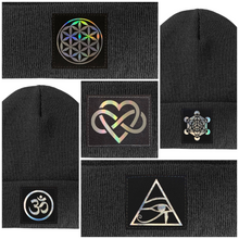 Load image into Gallery viewer, Yoga Beanie with flower of life eye of horus om metatron's cube by buddha gear
