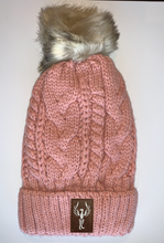 Load image into Gallery viewer, Buddha wear Plush Purple, Blanket Lined Cable Knit, Pom Pom Beanie with Unicorn, Om, Phoenix, Namaste, Lotus, Tree of Life, Moons, Infinite Heart or Cristian Fish/ichthus, Buddha and more...   gifts for him, and also kids beanies and baby beanies... Great for Yoga, meditation, mindfulness and our headbands hold a crystal over your third eye!