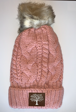Load image into Gallery viewer, Buddha gear Plush Purple, Blanket Lined Cable Knit, Pom Pom Beanie with Unicorn, Om, Phoenix, Namaste, Lotus, Tree of Life, Moons, Infinite Heart or Cristian Fish/ichthus, Buddha and more...   gifts for him, and also kids beanies and baby beanies... Great for Yoga, meditation, mindfulness and our headbands hold a crystal over your third eye!