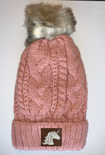 Load image into Gallery viewer, Plush Purple, Blanket Lined Cable Knit, Pom Pom Beanie with Unicorn, Om, Phoenix, Namaste, Lotus, Tree of Life, Moons, Infinite Heart or Cristian Fish/ichthus, Buddha and more...   gifts for him, and also kids beanies and baby beanies... Great for Yoga, meditation, mindfulness and our headbands hold a crystal over your third eye!