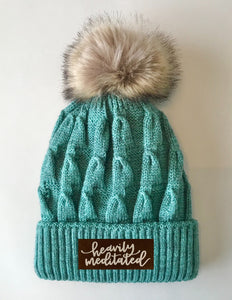 Beanies - Mint Plush, Blanket Lined, Marled Pom Pom Beanie with Brown & White Vegan Leather Moons, Namaste, Infinite Love, Unicorn, Tree of Life, Coffee, Om, Cannabis, Utah Mountains, Ganesha, Om, heavily meditated
