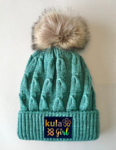 Teal Pom Pom Beanies by Buddha Gear and Kula Brands