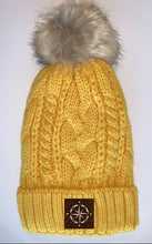 Load image into Gallery viewer, Buddha Wear Buddha Gear Plush Mustard, Blanket Lined Cable Knit, Pom Pom Beanie with Unicorn, Compass, Om, Phoenix, Namaste, Lotus, Tree of Life, Moons, Infinite Heart or Cristian Fish/ichthus Buddha Beanies