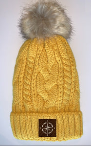 Buddha Wear Buddha Gear Plush Mustard, Blanket Lined Cable Knit, Pom Pom Beanie with Unicorn, Compass, Om, Phoenix, Namaste, Lotus, Tree of Life, Moons, Infinite Heart or Cristian Fish/ichthus Buddha Beanies