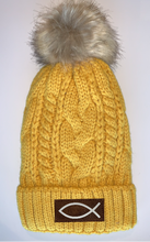Load image into Gallery viewer, Buddha Gear Buddha Beanies Plush Mustard, Blanket Lined Cable Knit, Pom Pom Beanie with Unicorn, Compass, Om, Phoenix, Namaste, Lotus, Tree of Life, Moons, Infinite Heart or Cristian Fish/ichthus Buddha wear
