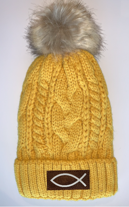 Buddha Gear Buddha Beanies Plush Mustard, Blanket Lined Cable Knit, Pom Pom Beanie with Unicorn, Compass, Om, Phoenix, Namaste, Lotus, Tree of Life, Moons, Infinite Heart or Cristian Fish/ichthus Buddha wear