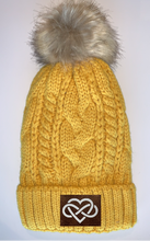 Load image into Gallery viewer, Buddha Beanies Buddha gear Plush Mustard, Blanket Lined Cable Knit, Pom Pom Beanie with Unicorn, Compass, Om, Phoenix, Namaste, Lotus, Tree of Life, Moons, Infinite Heart or Cristian Fish/ichthus Buddha Wear