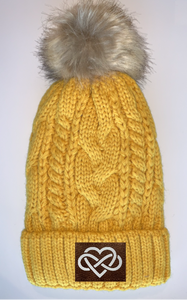 Buddha Beanies Buddha gear Plush Mustard, Blanket Lined Cable Knit, Pom Pom Beanie with Unicorn, Compass, Om, Phoenix, Namaste, Lotus, Tree of Life, Moons, Infinite Heart or Cristian Fish/ichthus Buddha Wear