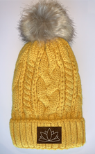 Load image into Gallery viewer, Plush Mustard, Blanket Lined Cable Knit, Pom Pom Beanie with Unicorn, Compass, Om, Phoenix, Namaste, Lotus, Tree of Life, Moons, Infinite Heart or Cristian Fish/ichthus Buddha gear Buddha Wear Buddha Beanies