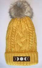 Load image into Gallery viewer, Buddha gear Plush Mustard, Blanket Lined Cable Knit, Pom Pom Beanie with Unicorn, Compass, Om, Phoenix, Namaste, Lotus, Tree of Life, Moons, Infinite Heart or Cristian Fish/ichthus Buddha gear Buddha Beanies
