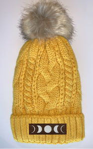 Buddha gear Plush Mustard, Blanket Lined Cable Knit, Pom Pom Beanie with Unicorn, Compass, Om, Phoenix, Namaste, Lotus, Tree of Life, Moons, Infinite Heart or Cristian Fish/ichthus Buddha gear Buddha Beanies