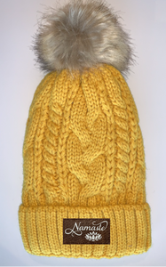 Buddha wear Plush Mustard, Blanket Lined Cable Knit, Pom Pom Beanie with Unicorn, Compass, Om, Phoenix, Namaste, Lotus, Tree of Life, Moons, Infinite Heart or Cristian Fish/ichthus Buddha Gear Buddha Beanies
