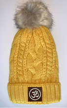 Load image into Gallery viewer, Plush Mustard, Blanket Lined Cable Knit, Pom Pom Beanie with Unicorn, Compass, Om, Phoenix, Namaste, Lotus, Tree of Life, Moons, Infinite Heart or Cristian Fish/ichthus Buddha Gear Buddha Beanies Buddha Bands