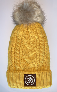 Plush Mustard, Blanket Lined Cable Knit, Pom Pom Beanie with Unicorn, Compass, Om, Phoenix, Namaste, Lotus, Tree of Life, Moons, Infinite Heart or Cristian Fish/ichthus Buddha Gear Buddha Beanies Buddha Bands