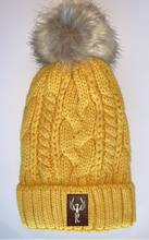 Load image into Gallery viewer, Buddha Beanies Plush Mustard, Blanket Lined Cable Knit, Pom Pom Beanie with Unicorn, Compass, Om, Phoenix, Namaste, Lotus, Tree of Life, Moons, Infinite Heart or Cristian Fish/ichthus Buddha gear Buddha Wear