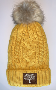 Plush Mustard, Blanket Lined Cable Knit, Pom Pom Beanie with Unicorn, Compass, Om, Phoenix, Namaste, Lotus, Tree of Life, Moons, Infinite Heart or Cristian Fish/ichthus Buddha Beanies Buddha Gear Buddha Wear