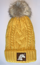 Load image into Gallery viewer, Plush Mustard, Blanket Lined Cable Knit, Pom Pom Beanie with Unicorn, Compass, Om, Phoenix, Namaste, Lotus, Tree of Life, Moons, Infinite Heart or Cristian Fish/ichthus Buddha Beanies Buddha Gear Buddha Wear