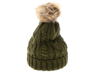 Olive Fur pom pom cable knit beanie hats.  Cozy plush lining Detachable snap-on faux fur pom pom beanie Super warm Buddha Beanies By Buddha Gear. Also available with Namaste, Lotus, Om, Unicorn, Tree of Life, Compass, Infinite Heart, Moons and Phoenix patches