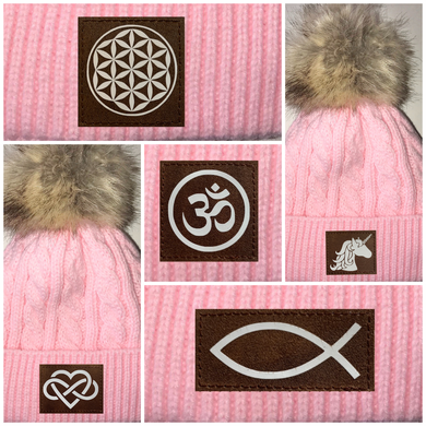 Buddha gear Pink Plush Baby Pom Pom Beanie with Om, Lotus, Moons, Tree of Life, Unicorn, Namaste, Infinite Love, Flower of Life & Ichthus. All Vegan, Hand Made Patches.