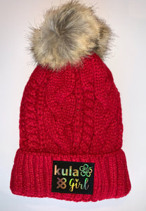 Red Plush Pom Pom Beanies by Buddha Gear and Kula Brands