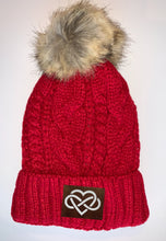 Load image into Gallery viewer, Buddha Wear Red Plush Pom Pom Beanie with Unicorn, Om, Phoenix, Namaste, Lotus, Tree of Life, Moons, Infinite Heart or Cristian Fish / ichthus. Buddha Gear Buddha Beanie