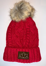 Load image into Gallery viewer, Buddha Wear Buddha Gear Red Plush Pom Pom Beanie with Unicorn, Om, Phoenix, Namaste, Lotus, Tree of Life, Moons, Infinite Heart or Cristian Fish / ichthus.