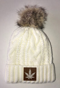 Cannabis Beanies - Ivory Plush, Blanket Lined Cable Knit, Pom Pom Beanie Buddha Gear
