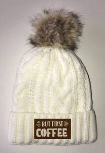 Coffee Beanies - Ivory Plush, Blanket Lined Cable Knit, Pom Pom Beanie Buddha Gear