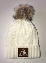 Load image into Gallery viewer, Beanies Eye of Horus  Ivory Plush, Blanket Lined Cable Knit, Pom Pom Beanie Buddha Gear