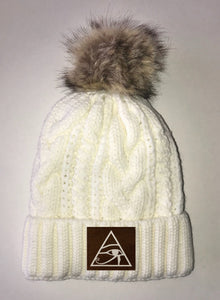 Beanies Eye of Horus  Ivory Plush, Blanket Lined Cable Knit, Pom Pom Beanie Buddha Gear