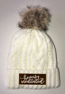 Beanies - Ivory Plush, Blanket Lined Cable Knit, Pom Pom Beanie Buddha Gear