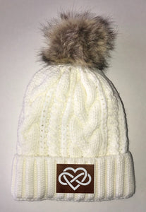 Love Beanies - Ivory Plush, Blanket Lined Cable Knit, Pom Pom Beanie Buddha Gear