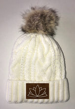 Load image into Gallery viewer, Lotus Beanies - Ivory Plush, Blanket Lined Cable Knit, Pom Pom Beanie Buddha Gear