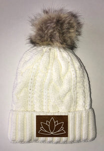 Lotus Beanies - Ivory Plush, Blanket Lined Cable Knit, Pom Pom Beanie Buddha Gear