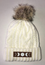 Load image into Gallery viewer, Moon Beanies - Ivory Plush, Blanket Lined Cable Knit, Pom Pom Beanie Buddha Gear