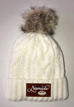 Load image into Gallery viewer, Beanies - Ivory Plush, Blanket Lined Cable Knit, Pom Pom Beanie Buddha Gear namaste lotus