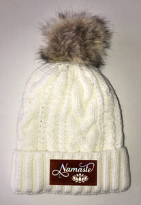 Beanies - Ivory Plush, Blanket Lined Cable Knit, Pom Pom Beanie Buddha Gear namaste lotus