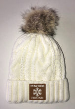 Load image into Gallery viewer, Snow Beanies - Ivory Plush, Blanket Lined Cable Knit, Pom Pom Beanie Buddha Gear