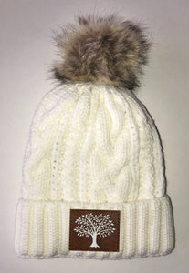 Tree of Life Beanies - Ivory Plush, Blanket Lined Cable Knit, Pom Pom Beanie Buddha Gear