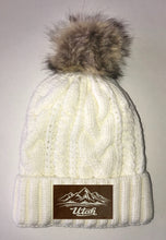 Load image into Gallery viewer, Utah Beanies - Ivory Plush, Blanket Lined Cable Knit, Pom Pom Beanie Buddha Gear skiing