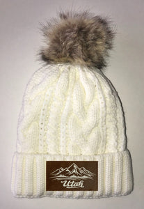 Utah Beanies - Ivory Plush, Blanket Lined Cable Knit, Pom Pom Beanie Buddha Gear skiing